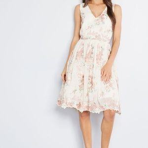 Modcloth Forever Yours Floral Embroidered Dress